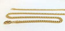 18k Solid Yellow Gold Italian Flat Curb/Link Unisex Chain Necklace, 22Inches.