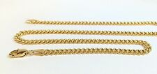 18k Solid Yellow Gold Italian Flat Curb/Link Unisex Chain Necklace, 20Incs 7.77G