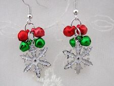 Snowflake Earrings Red Green Bells Silver Christmas Fashion Jewelry NEW