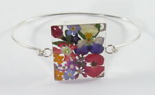 "925 sterlingl silver bracelet with real flowers large rectangle design 7"" long"