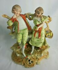 ANTIQUE Hand Painted GERMAN Bisque DRESDEN PORCELAIN FIGURINE CHILDREN In Love