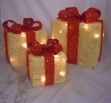Set 3 coffret 40 Lumières crème sisal sur un cadre décoration de Noël