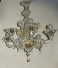 Lustre cristal Murano feuilles d  or 6 branches