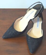 Manolo Blahnik Black Leather Lace Point Toe Slingback Shoes Size 37.5