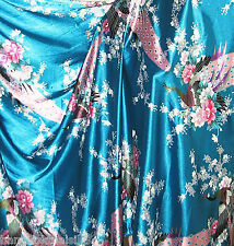 Teal Peacock Faux Silk Satin FABRIC SOFT & SMOOTH DRESS KIMINO QUILT BTY