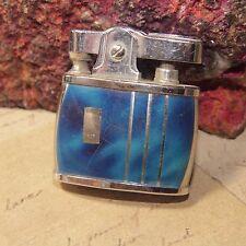 Vintage Art Deco SHALCO Japan Cigarette Lighter Silver Blue Striped