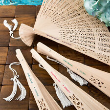 50 - Personalized Carved Personalized Sandalwood Fan - Beach Wedding Favor