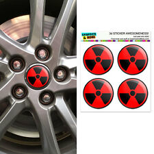 Radioactive on Red - Wheel Center Cap 3D Domed Stickers Badges - Set of 4