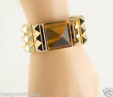 House of Harlow 1960 Nicole Richie Pyramid Bracelet in Gold/Tiger's Eye