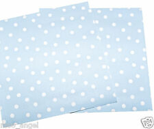 """10 sheets of pale duck egg blue craft paper pattern with white polka dots 6 x 6"""""""