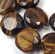 15x15mm  Tiger Eye Tigereye Faceted Coin Beads (12)
