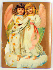 Victorian Lithograph Die Cut Embossed Angel Girls Advent Calendar 18X11.5