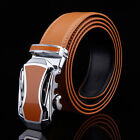 Fashion Mens Brown Genuine Leather Alloy Automatic Buckle Waistband Strap Belts