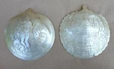 Antique mother of pearl jérusalem sculptés à la main plaques christ ressuscité & cène