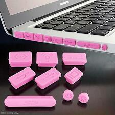 9Pcs Pink Silicone Dustproof Plug Port Cover Cap Stopper For Macbook Pro Laptop