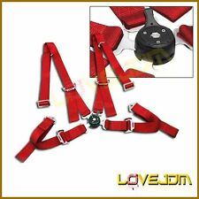 Brand New Pair Of 2 Universal Red JDM 4-Point Camlock Racing Seat Belt Harness
