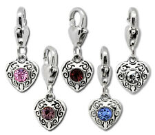 10PCs Mixed Love Heart Clip On Charms Fit Chain Bracelet