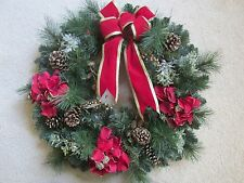 """Large 23"""" Christmas Door Wreath Pine Cone~Glazed~Poinsettias~Gold Holly Berries"""