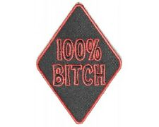 "(FF) 100% BITCH 3"" x 2"" iron on patch (4173) Biker vest Cap Hat"