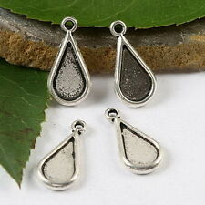 40pcs Tibetan silver flat leaf charm findings h1737