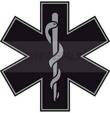 "Black 4"" Die Cut Star of Life Reflective Emergency Medical EMT Paramedic Decal"