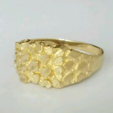 Men's 14k yellow Gold Nugget Ring S 11