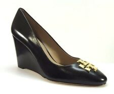 Tory Burch Raleigh Leather Wedge Pump Black-Gold Size 8
