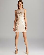 KAREN MILLEN LTD EDITION NUDE SATIN & SEQUIN DRESS SIZE 12 BRAND NEW TAG