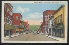 POSTCARD MOUNDSVILLE WV JEFFERSON AVENUE NORTH BUSINESS STORE FRONT 1930'S