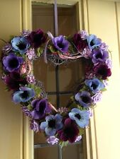 Shabby Chic Wicker Heart Floral Country Farmhouse Beautiful Flowers Purple Lilac