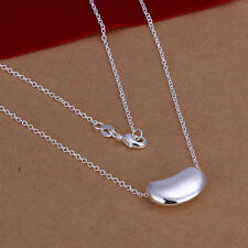 Nice LF 925 Silver Plated Bean Style Pendant Chain Necklace 18 inch