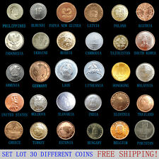 Set Lot 30 PCS Coins From 30 Foreign World Countries, Most UNC, FREE SHIPPING!