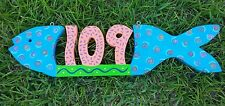 Custom WOODEN FISH HOUSE NUMBER Address Sign HAND MADE Painted Carved Wood
