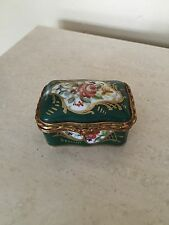 Green Hand Painted Floral French Enamel Porcelain Trinket Dresser  Box