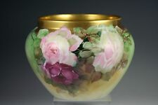 LIMOGES FRANCE HAND PAINTED ROSE JARDINIERE