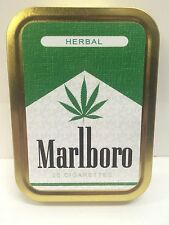 Weed Leaf Herbal Retro Advertising Cigarette Tobacco Storage 2oz Tin