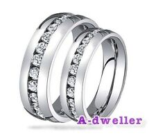 Bride Groom Diamond Eternity Titanium Couple Wedding Ring Set Band Men Women