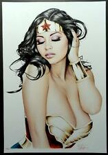 "DON MONROE - HOT & SEXY WONDER WOMAN ART PRINT SIGNED BY ARTIST 13""X19"""