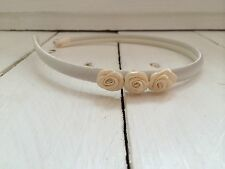 Ivory Satin Headband Hairband Alice Band Ivory Flowers Bridesmaid Flower Girl