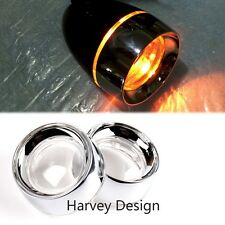 1Pair New Clear Turn Signal Lens Chrome Metal Trim Ring x2 For Harley Parts