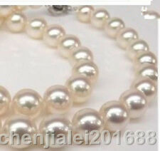 Genuine AAA 8mm WHITE south sea AKOYA SHELL PEARL NECKLACE 18""