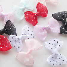 60pcs Organza Ribbon Bows Flowers Dot Appliques Sewing Craft Lots