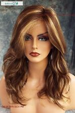 """Orchid"" LACE FRONT W/ LACE PART WIG BROWN HIGHLIGHTED CARAMEL KISS M * MUST SEE"