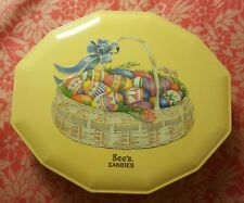 SEE'S CANDIES Candy Collector TIN Can Easter Eggs Blasket Container Made in USA