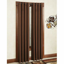 TWO HEAVY THICK  panels MICROFIBER  BLACKOUT BROWN  grommet window curtain LINED