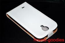 White Genuine Leather Flip Case Cover for Samsung Galaxy S4 i9500 i9505 LTE 4G