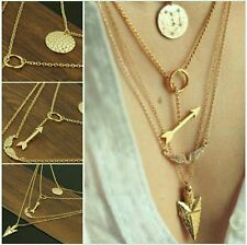 New Fashion Punk Arrow Angle Wing Crystal Gold Coin Pendants Multilayer Necklace