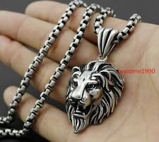Amazing Gothic Mens 316L Stainless Steel Lion Heads Pendant Necklace Friend Gift