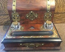 Antique English c1860 Desk Writing Box With 2 Ink Wells Brass Trim