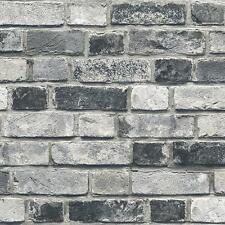Wallpaper Designer White Black Gray Tan Brick Wall SMOOTH Looks Real Up!